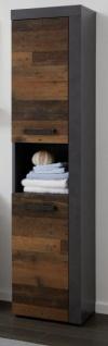 Badezimmer Hochschrank Cancun in Old Used Wood Design mit Matera grau Badmöbel 36 x 184 cm Badschrank