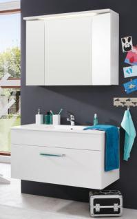 Bad Möbel Set Adamo weiss Hochglanz inkl. Waschbecken und Beleuchtung Breite 100 cm