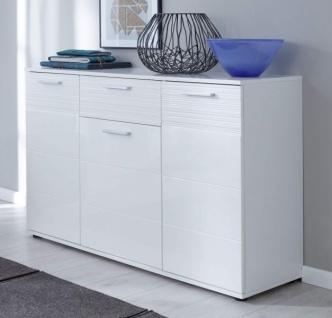 Kommode Ice in weiß Hochglanz Wohnzimmer Sideboard Esszimmer Anrichte 130 x 84 cm