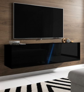TV-Lowboard Space in Hochglanz schwarz Lack TV-Unterteil hängend oder stehend 160 cm inkl. Beleuchtung