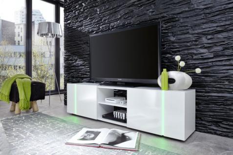 TV-Lowboard Disco weiß glänzend mit Beleuchtung RGB LED 160 cm