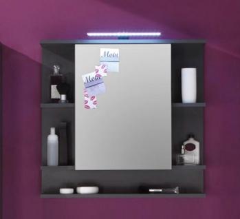 """Badezimmer: Spiegelschrank """" Tetis"""" Grafit, grau (72x70 cm) mit Regalfächern"""
