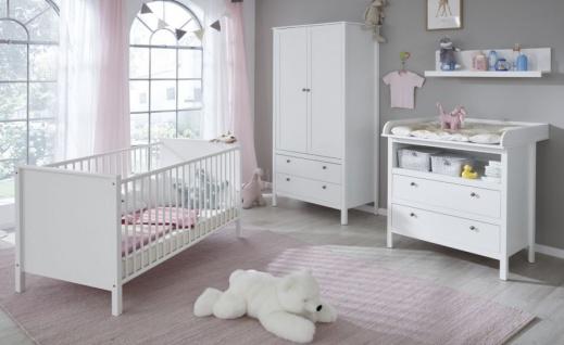 """Babyzimmer Set """" Ole"""" 4-teilig in weiß Landhaus mit Wickelkommode, Babybett, Kleiderschrank und Wandregal"""