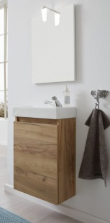 Badmöbel komplett Set Champ in Eiche Gold inkl. Waschbecken Spiegel und Beleuchtung Breite 40 cm