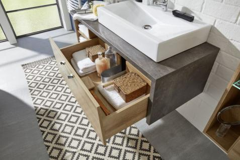 Waschbeckenunterschrank Bay Eiche Riviera Honig und grau Beton Design mit Schubkasten 123 cm - Vorschau 3