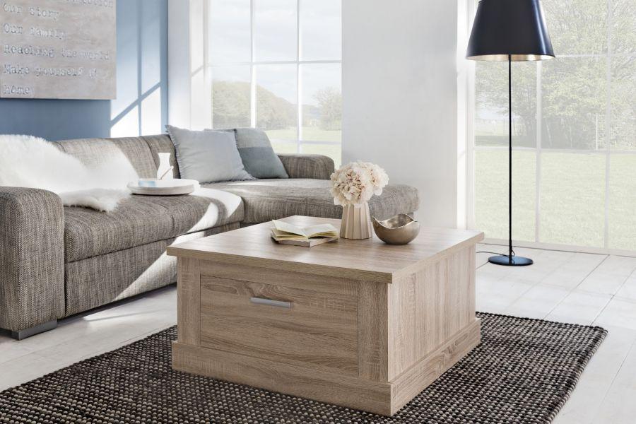 wohnzimmertisch couchtisch universal eiche sonoma mit 2 schubk sten kaufen bei oe online. Black Bedroom Furniture Sets. Home Design Ideas