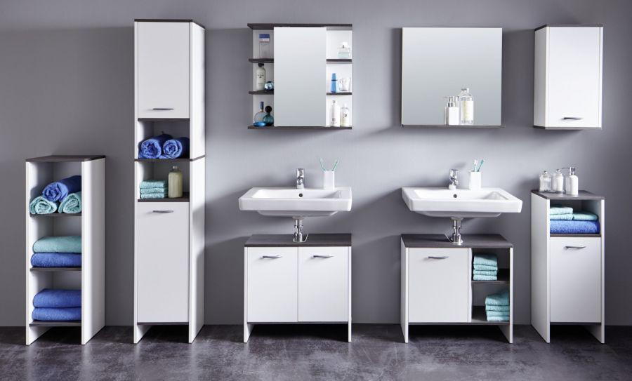 Badezimmer spiegelschrank california wei und sardegna for Wasserabweisende folie bad