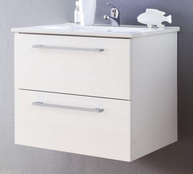 Waschbeckenunterschrank Intenso Hochglanz Weiß Lack 60 Cm Waschtisch