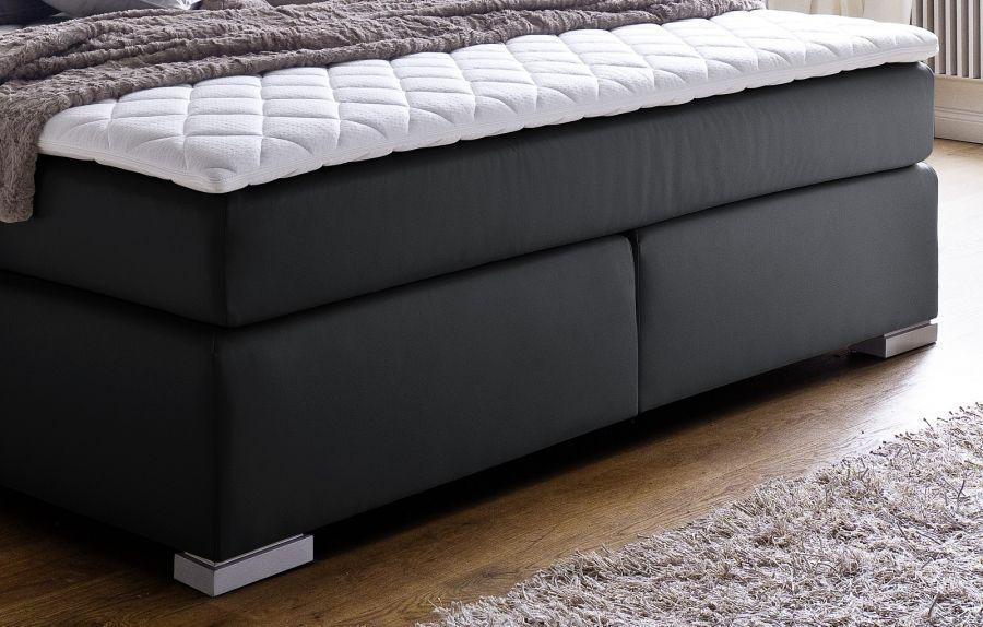 boxspringbett isabelle 180 x 200 cm leder optik schwarz taschenfederkern matratze kaufen bei. Black Bedroom Furniture Sets. Home Design Ideas