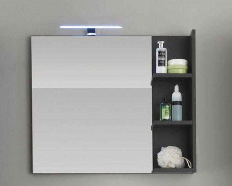 Badezimmer Wandspiegel Mit Ablage Beach Grau 79 X 67 Cm Kaufen Bei