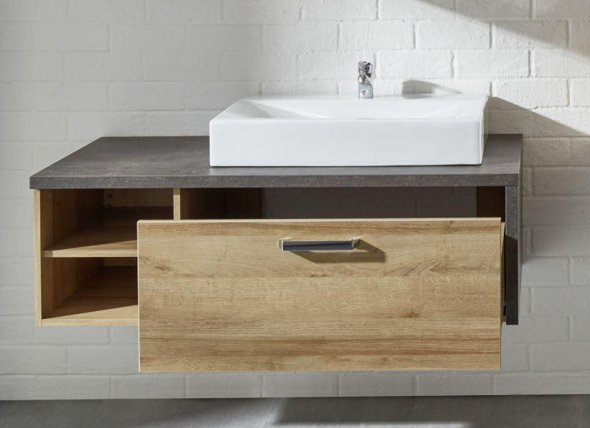 waschbeckenunterschrank bay in eiche riviera honig und beton grau design optional mit
