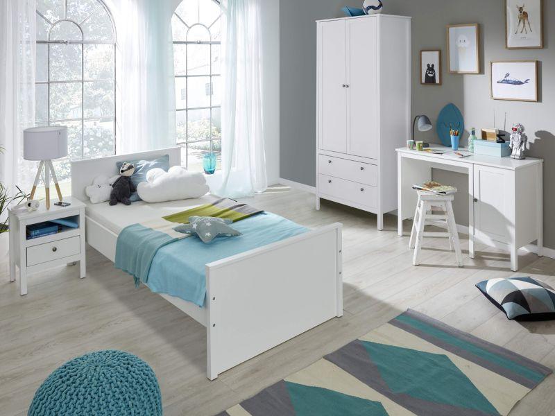 Kinderzimmer Jugendzimmer Komplett Set Ole 4 Teilig In Landhaus Weiss Mit Bett Schrank Schreibtisch Und Nachttisch