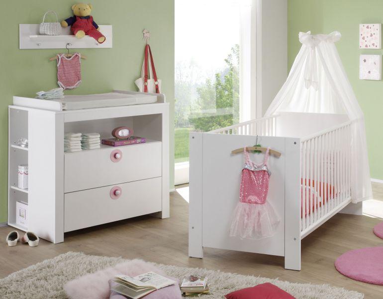 Babyzimmer Olivia in weiß komplett Set 4-teilig mit ...