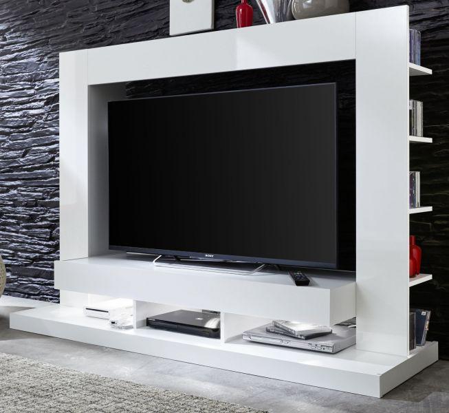 Medienwand Weiss Glanz Fernsehschrank 164 Cm Ca 55 Tv Hifi Möbel