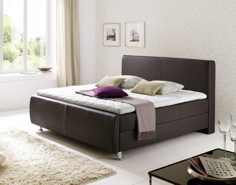 boxspringbett amondo 140 x 200 cm leder optik braun 7 zonen tonnentaschenfederkern kaufen bei. Black Bedroom Furniture Sets. Home Design Ideas