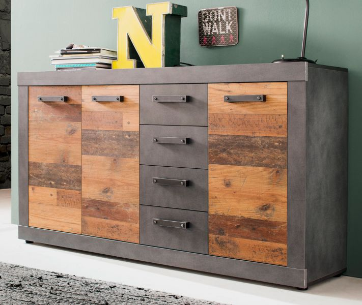 Sideboard Indy In Shabby Vintage Mit Matera Grau Kommode Old Used