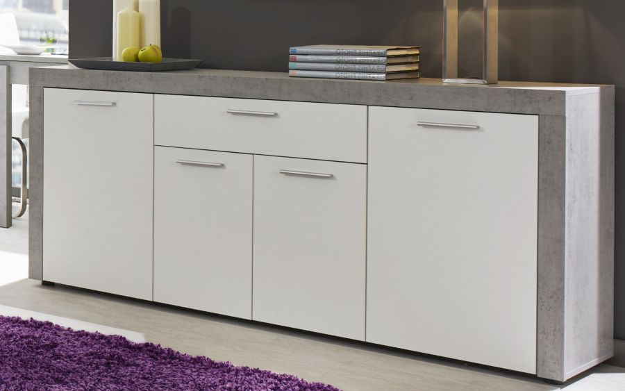 Sideboard Kommode Creek Weiss Und Industrie Beton Stone Design 173 Cm