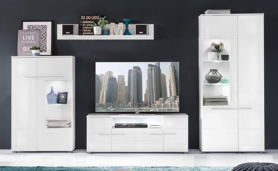 Wohnwand Vision Hochglanz weiß inkl. LED Beleuchtung 320 cm - Kaufen ...
