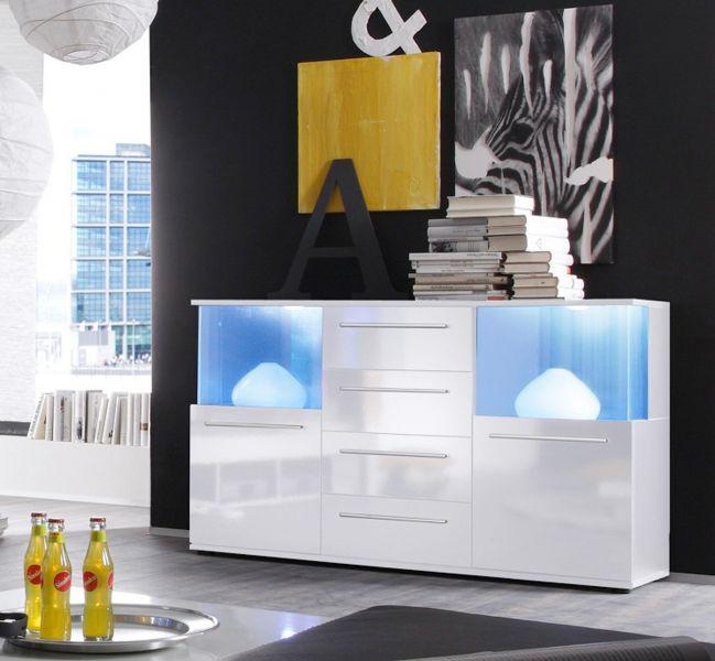 sideboard kommode punch wei gl nzend mit led beleuchtung. Black Bedroom Furniture Sets. Home Design Ideas