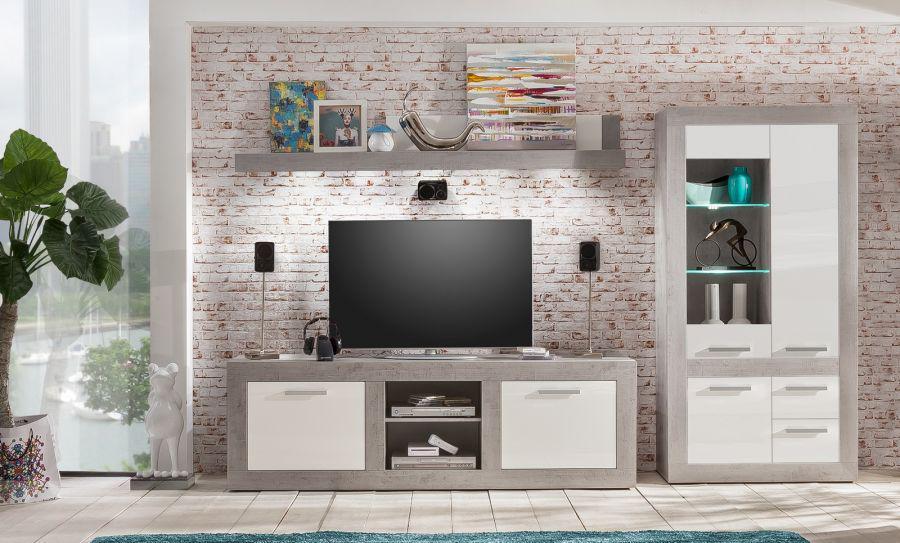 wohnwand anbauwand pure hochglanz wei mit grau industrie beton 320 x 201 cm inkl beleuchtung. Black Bedroom Furniture Sets. Home Design Ideas