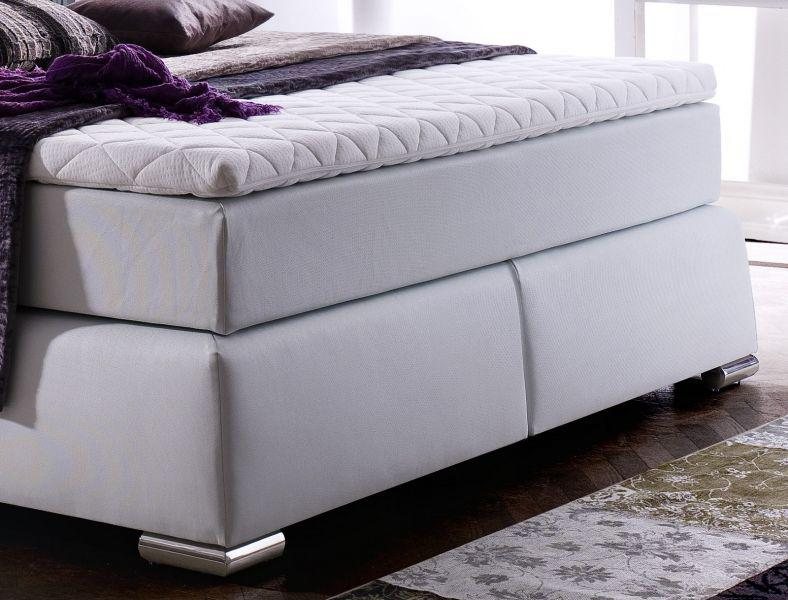 boxspringbett claudine 200 x 200 cm leder optik wei 5 gang bonell federkern matratze hotelbett. Black Bedroom Furniture Sets. Home Design Ideas