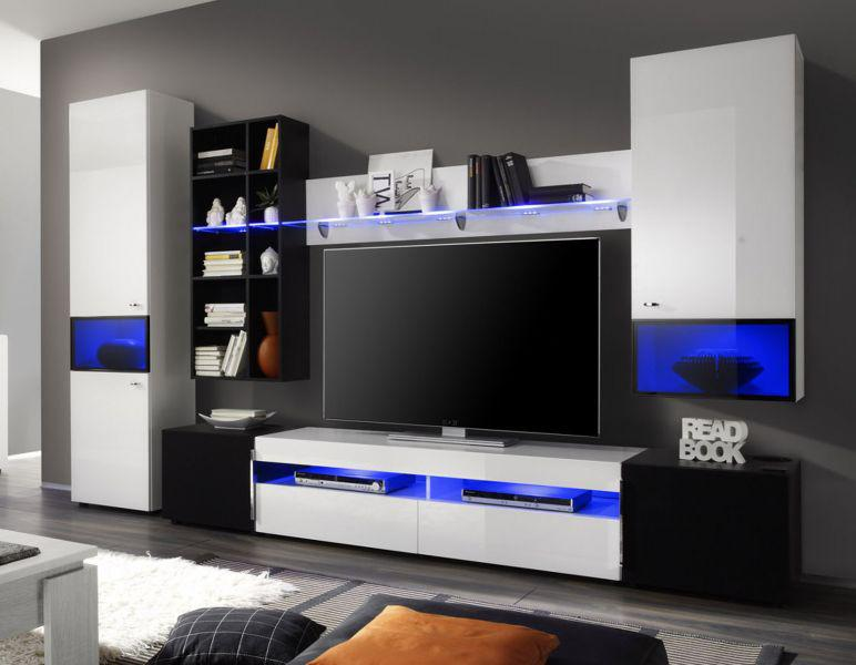 wohnwand schrankwand mediawand delta wei und schwarz hochglanz breite 315 cm kaufen bei oe. Black Bedroom Furniture Sets. Home Design Ideas