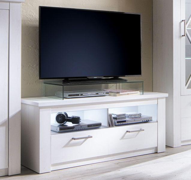 TV Lowboard Georgia In Pinie Struktur Weiß Dekor Unterteil 139 X 58 Cm  Fernsehtisch Im ...