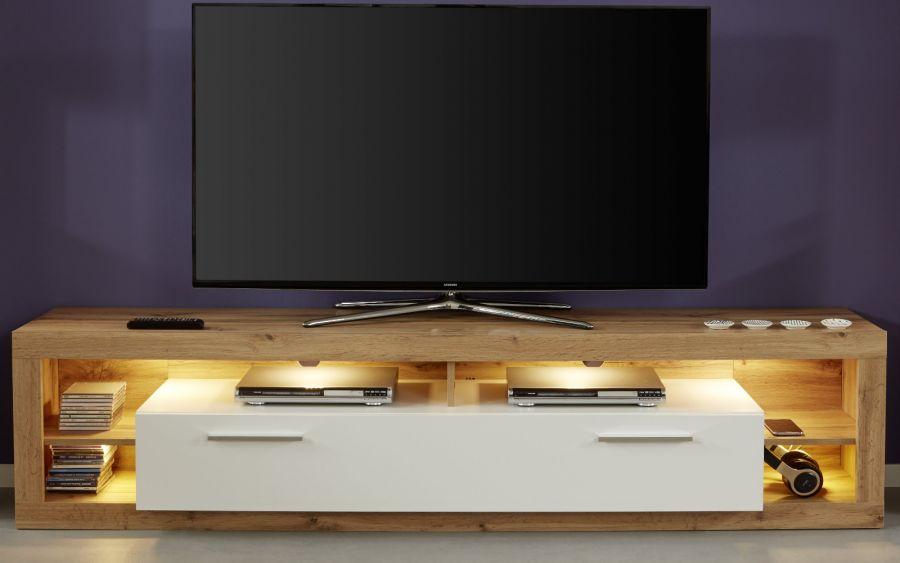 Tv Lowboard Rock In Weiss Hochglanz Und Wotan Eiche Fernsehtisch Breite 200 Cm