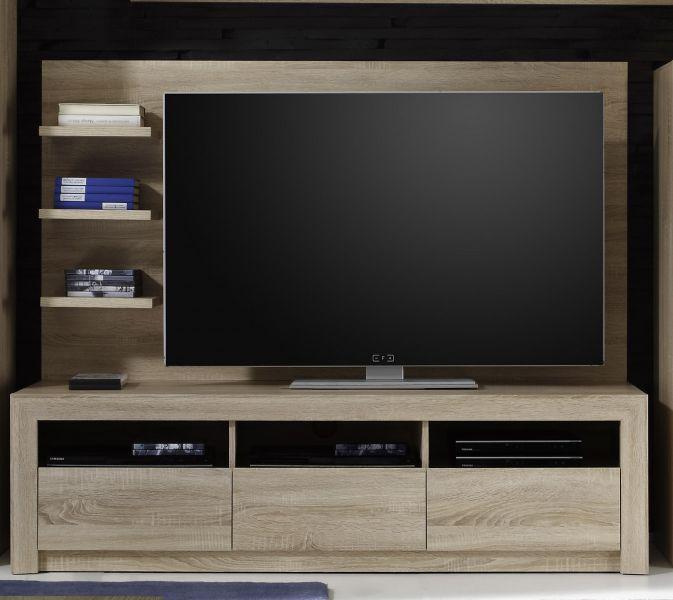 wohnwand schrankwand sevilla 5 tlg eiche sonoma hell mit get ntem glas und led beleuchtung b. Black Bedroom Furniture Sets. Home Design Ideas