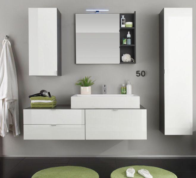 badkombination badm bel set beach mit waschbecken hochglanz wei grau 5 teilig kaufen bei oe. Black Bedroom Furniture Sets. Home Design Ideas
