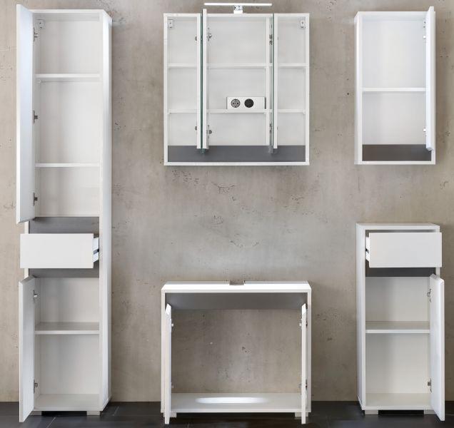 badschrank hochschrank lack hochglanz wei und grau dekor. Black Bedroom Furniture Sets. Home Design Ideas