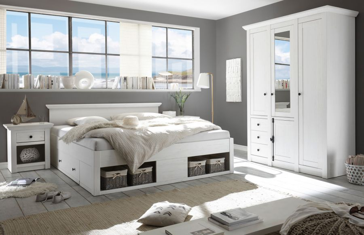 Schlafzimmer Komplett Hooge In Pinie Weiss Landhaus Komplettzimmer Mit Bett Kleiderschrank Und Nachttisch Kaufen Bei Oe Online Einrichten Gmbh