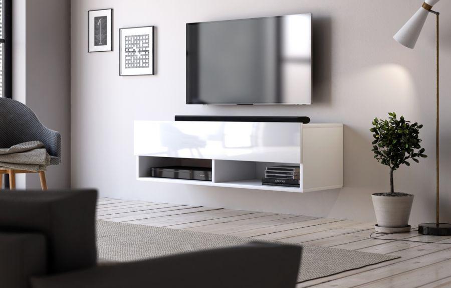 Tv Lowboard Epsom In Hochglanz Weiss Tv Unterteil Hangend 100 X 30