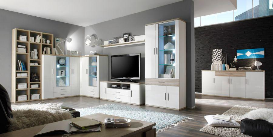 highboard mit b cherregal arena wei hochglanz mit eiche hell s gerauh mit beleuchtung kaufen. Black Bedroom Furniture Sets. Home Design Ideas