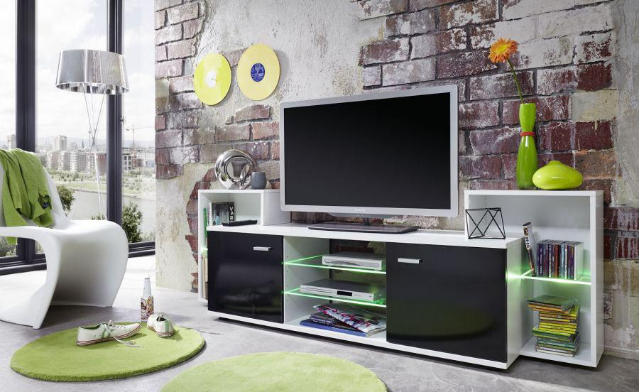 tv unterteil fernsehboard xenon schwarz gl nzend mit wei rgb led beleuchtung 190 x 62 cm. Black Bedroom Furniture Sets. Home Design Ideas