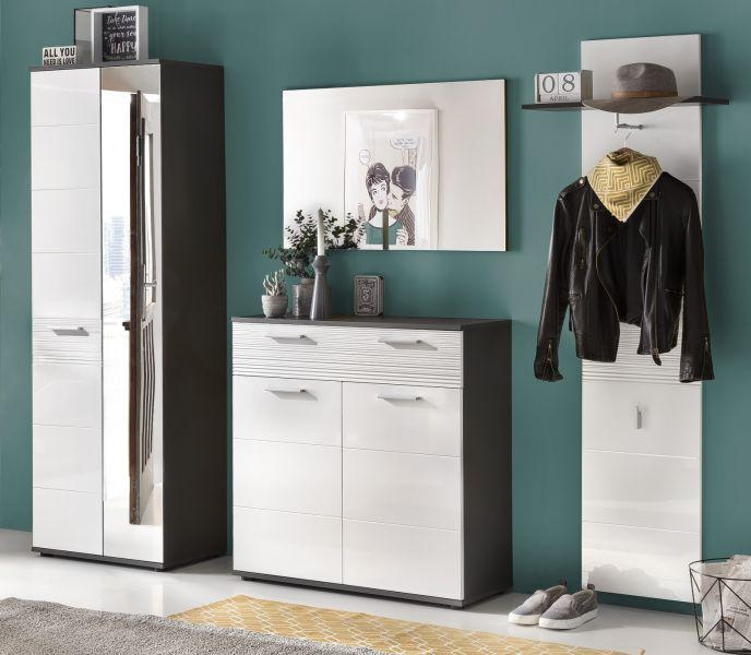 flurgarderobe komplett set smart hochglanz wei und grau dekor 4 teilig kaufen bei oe online. Black Bedroom Furniture Sets. Home Design Ideas
