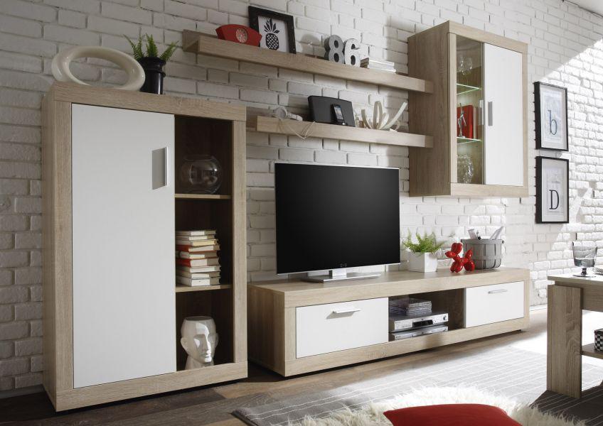 wohnwand schrankwand ocean 5 tlg eiche sonoma mit wei inkl led beleuchtung breite 293 cm. Black Bedroom Furniture Sets. Home Design Ideas