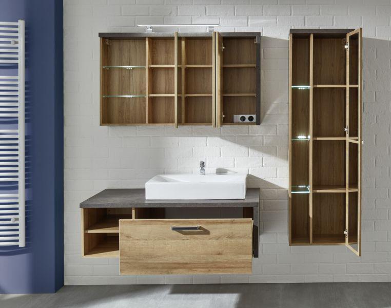 badm bel komplett set bay mit waschbecken eiche riviera honig beton grau design 4 teilig 186 cm. Black Bedroom Furniture Sets. Home Design Ideas