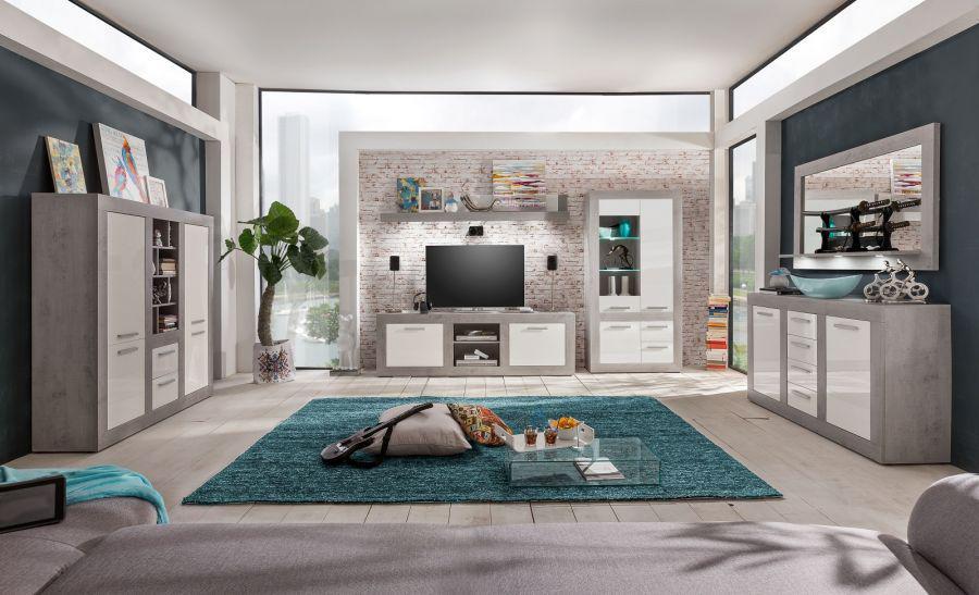Wohnwand Anbauwand Pure Hochglanz Weiß Mit Grau / Industrie Beton 320 X 201  Cm Inkl.