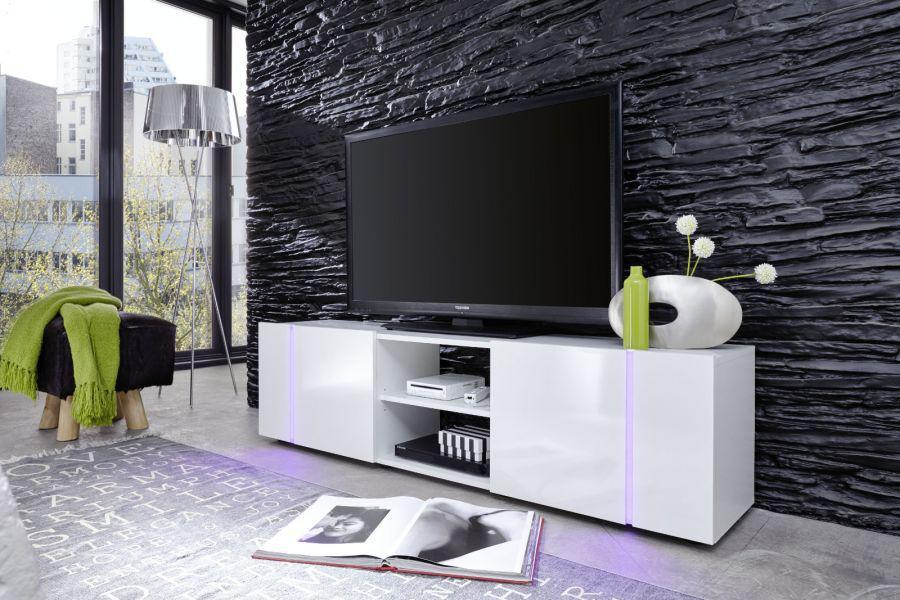 TV-Schrank Disco weiß Glanz mit LED Farbwechselbeleuchtung 160 cm ...