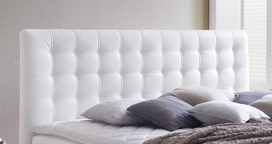 boxspringbett isabelle 180 x 200 cm leder optik wei 7 zonen tonnentaschenfederkern matratze. Black Bedroom Furniture Sets. Home Design Ideas