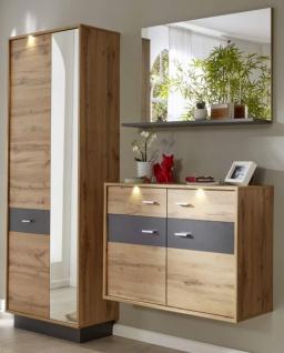 Flur Garderobe Coast Wotan Eiche Dekor und grau Melamin Garderoben Set 3-teilig 191 cm inkl. Beleuchtung