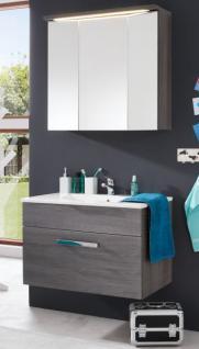 Badezimmer Badmöbel Set 3-teilig mit Waschbecken Adamo Sardegna rauchsilber