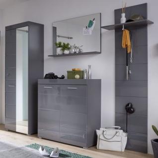 Garderobe Set 4-teilig Amanda in Hochglanz grau Flur Garderobenkombination 233 x 195 cm