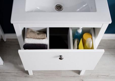 Badmöbel Set Ole weiß Landhaus 4-teilig komplett mit Keramik-Waschbecken - Vorschau 4