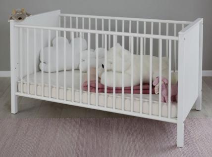 Babyzimmer Ole komplett Set 4-teilig weiß mit Wickelkommode Babybett Kleiderschrank und Wandregal - Vorschau 3