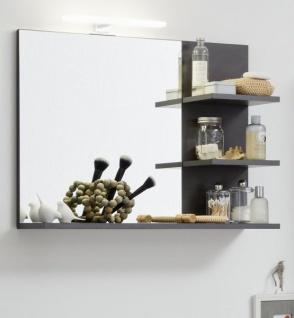 Badezimmer Spiegel Cancun in Matera grau Badmöbel 72 x 57 cm Badspiegel mit Ablage