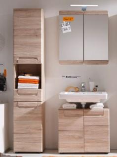 Badezimmer Malea Badmöbel Set 3-teilig Eiche San Remo hell tiefgezogen