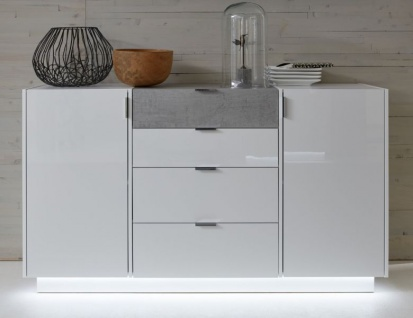 Sideboard Kommode Atlanta in Hochglanz weiß und Stone grau Dekor 150 x 86 cm
