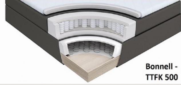 Boxspringbett Claudine 200 x 200 cm Leder Optik braun 7 Zonen Tonnentaschenfederkern Matratze - Vorschau 4